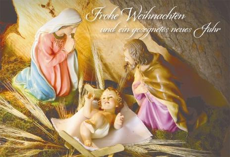Glückwunschkarte Frohe Weihnachten (6 Stück) Heilige Familie Grußkarte Kuvert