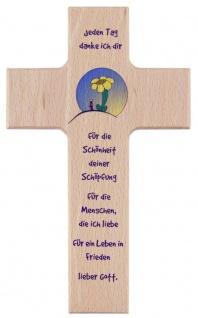 Kinderkreuz Dank an den Schöpfer Buche 15 cm 20 cm Blume Wandkreuz Holz Taufe