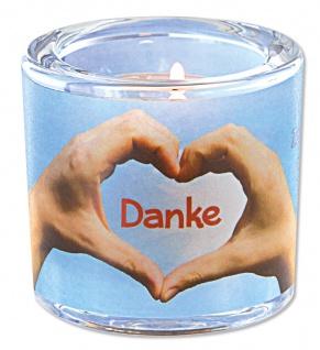 Glaswindlicht Danke inkl. Teelicht Kerzenhalter Geschenkbox Glas für Windlicht - Vorschau 1