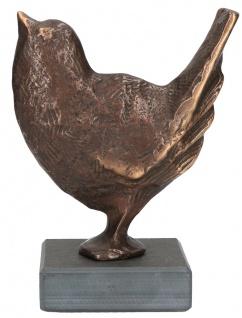 Spatz Bronzefigur Schiefer-Sockel Raimund Schmelter Bronze Statue Skulptur