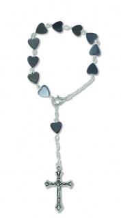 10er Rosenkranz mit Metall Perlen in Herzform 16 cm Auto-Rosenkranz Rückspiegel