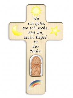 Kreuz für Kinder Schutzengel Gebet Wo ich gehe Ton-Engel Kruzifix Holz-Kreuz