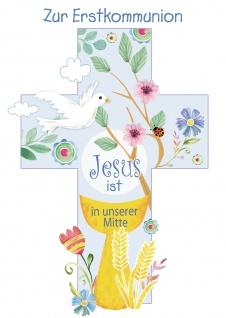Glückwunschkarte Zur Erstkommunion (6 St) Kreuz mit Taube Kelch Blumen und Ähre