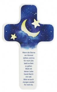 Kinderkreuz Holzintarsie Sterne Buche Sterne am Himmel 18 cm Wandkreuz Holzkreuz