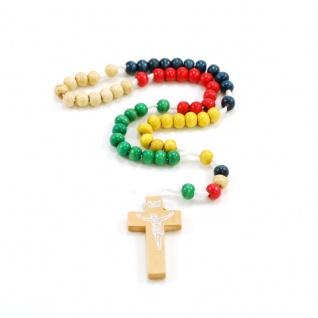 Taschen-Rosenkranz Mission farbig geknüpft mit Holzkreuz schlicht 30 cm