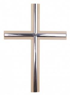 Wandkreuz Holzkreuz Ahorn Metallstäbe Silberfarben Kreuz Holz Kruzifix 20 cm