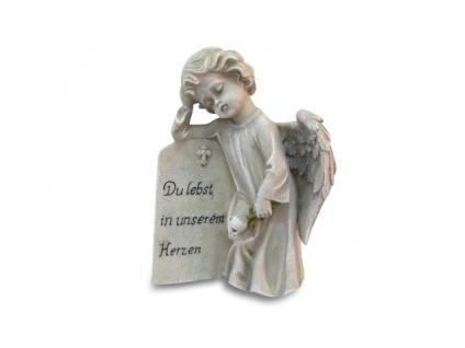 Engel Du lebst in unserem Herzen Grabschmuck 20 cm