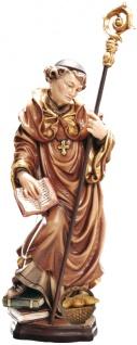 Heiliger Meinrad mit Brot Holzfigur geschnitzt Südtirol Schutzpatron