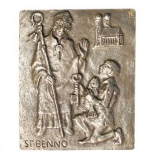 Namenstag Benno 13 x 10 cm Bronzerelief Wandbild Schutzpatron