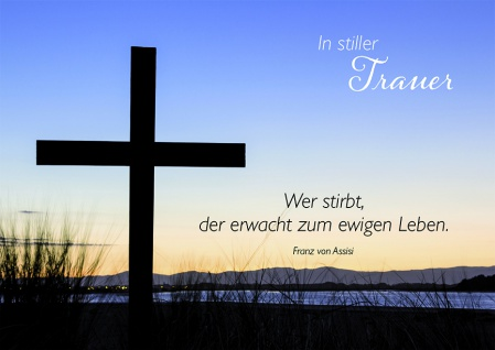 Trauerkarte In stiller Trauer Franz von Assisi (6 Stck) Beileid Kondolenzkarte