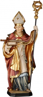 Heiliger Burkhard mit Schwert Holzfigur geschnitzt Südtirol Bischof von Worms