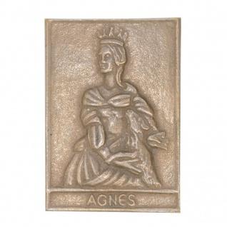 Namenstag Agnes 8 x 6 cm Bronzeplakette Bronzerelief Wandbild Schutzpatron