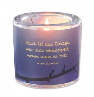 Glaswindlicht Glück inkl. Teelicht Kerzenhalter Geschenkbox Glas für Windlicht