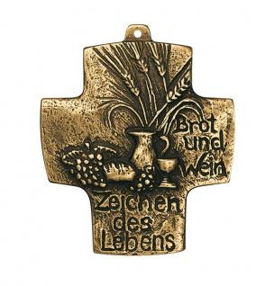 Wandkreuz Brot und Wein Bronze Erstkommunion Kreuz 10 cm Schmelter Raimund NEU