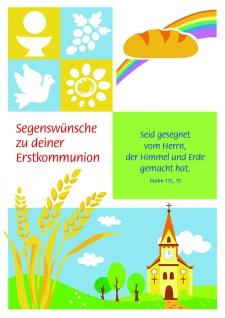 Kommunionkarte Segenswünsche (6 Stck) Glückwunschkarte Erstkommunion Grußkarte