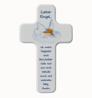 Kinderkreuz Lieber Engel Buche weiss lackiert 18 x 11 cm Wandkreuz Holz Kreuz