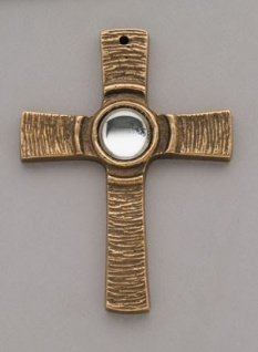 Wandkreuz Kreuz mit klarem Stein 7, 5 cm Bronze Kommunion