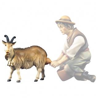 Ziege zum melken Holzfigur geschnitzt Südtirol Krippenfigur Ulrich Krippe