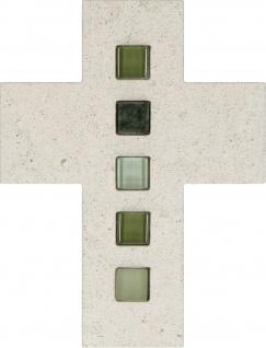 Schmuckkreuz Inlays Mosaik-Steine Naturstein Kruzifix Kreuz Wandkreuz