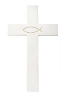Wandkreuz Ichthys Fisch Edelstahl schlicht mattiert Kreuz 15, 5 cm Handarbeit
