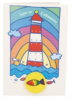 Glückwunschkarte mit Radiergummi Segen zur Erstkommunion (5 St) Leuchtturm - Vorschau