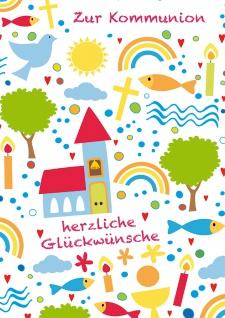 Glückwunschkarte Zur Kommunion herzliche Glückwünsche (6 Stück) Kirche