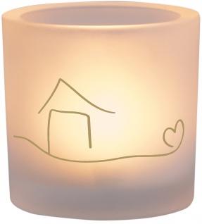 Windlicht Glas Zuhause Teelicht Geschenkverpackung Golddruck Haus Herz