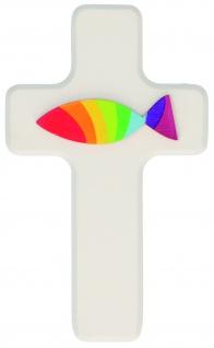 Kreuz für Kinder Regenbogenfisch 14 cm Kruzifix Holz-Kreuz Geschenkbox