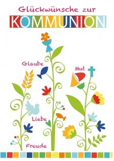 Glückwunschkarte Glückwünsche zur Kommunion (6 Stück) Christliche Symbole