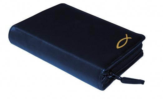 Gotteslobhülle Fisch Gold Rindleder Blau Gesangbuch Einband Katholisch