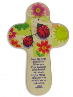 Kinderkreuz Marienkäfer Lindenholz Irisches Segenswort 15 cm Wandkreuz Mädchen