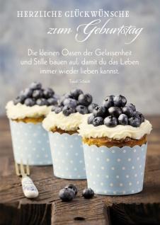 Postkarte Herzliche Glückwünsche zum Geburtstag (10 St) Blaubeer Cupcakes