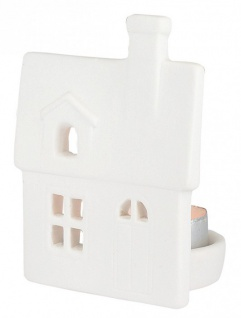 Porzellan-Figur Haus mit Dachfenster 10 cm, mit Teelicht