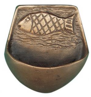 Weihwasserkessel Fisch 7, 5 cm Bronze Weihwasserbecken für Zuhause