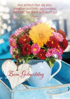 Postkarte Geburtstag Blumenstrauß Herz 10 St Adressfeld Gedicht Wunsch