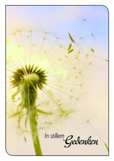 Trauerkarte In stillem Gedenken, Löwenzahn (6 Stck) Beileidskarte Kondolenzkarte