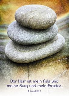 Postkarte Der Herr ist mein Fels (10 Stück) Steine Samuel Lutherbibel Grußkarte