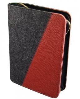 Gotteslobhülle Wollfilz Anthrazit mit Leder Rot Gesangbuch Einband Katholisch