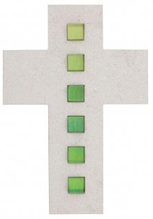 Wandkreuz Naturstein Kreuz Inlays Glaseinlage grün 21 cm Kruzifix Christlich