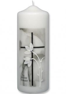 Trauerkerze In stiller Trauer Kreuz Blumen 22 cm Handarbeit Tischkerze