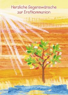 Glückwunschkarte Herzliche Segenswünsche zur Erstkommunion (6 St) Lebensbaum