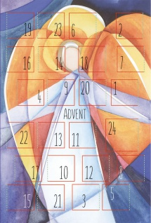 Adventskalenderkarte Weihnachtskarte Kalender (6 Stck) Adventskalender Kuvert