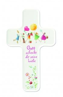 Kinderkreuz Buchenholz Gott schenkt dir seine Liebe 14cm Wandkreuz Kommunion NEU
