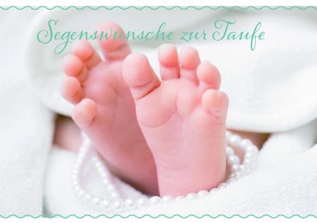 Taufkarte Segenswünsche zur Taufe (6 Stck) Füßchen Glückwunschkarten Set Kuvert