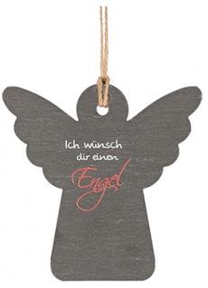 Weihnachtsdeko Engel Anhänger Ich wünsch dir einen Engel Schiefer / Hanfband