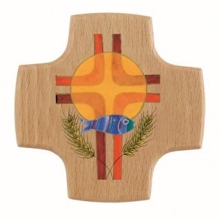 Wandkreuz Hostie Fisch Ähren Holzkreuz Kruzifix Kreuz 8 cm Kommunion