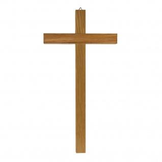 Wandkreuz schlicht Kruzifix Eichenholz hell Kreuz gerader Querbalken