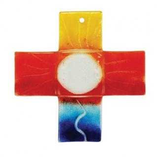 Glaskreuz bunt Gotteswege Fusing Glas Kreuz Handarbeit 18 cm Wandkreuz Unikat