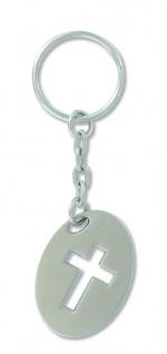 Schlüsselanhänger Kreuz Metall oval 8, 5 cm Christlich