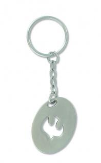 Schlüsselanhänger Taube Metall oval 8, 5 cm Christlich